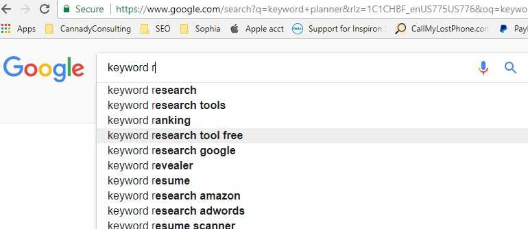 google suggest query for keyword research